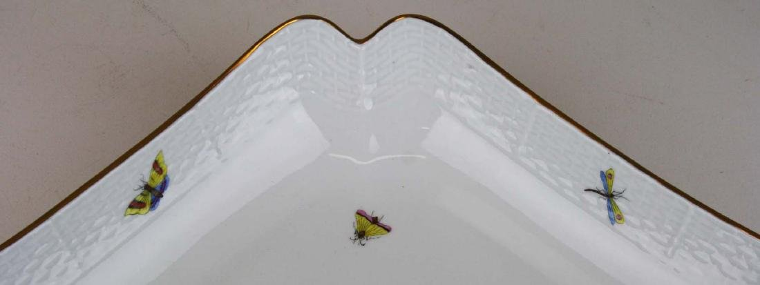 Herend Rothchild's Bird square scalloped edge serving - 6