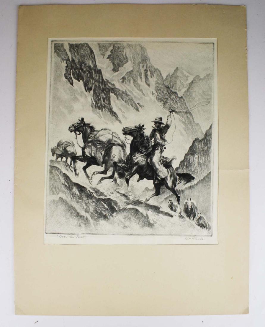 1945 Reinhold H Palenske drypoint etching