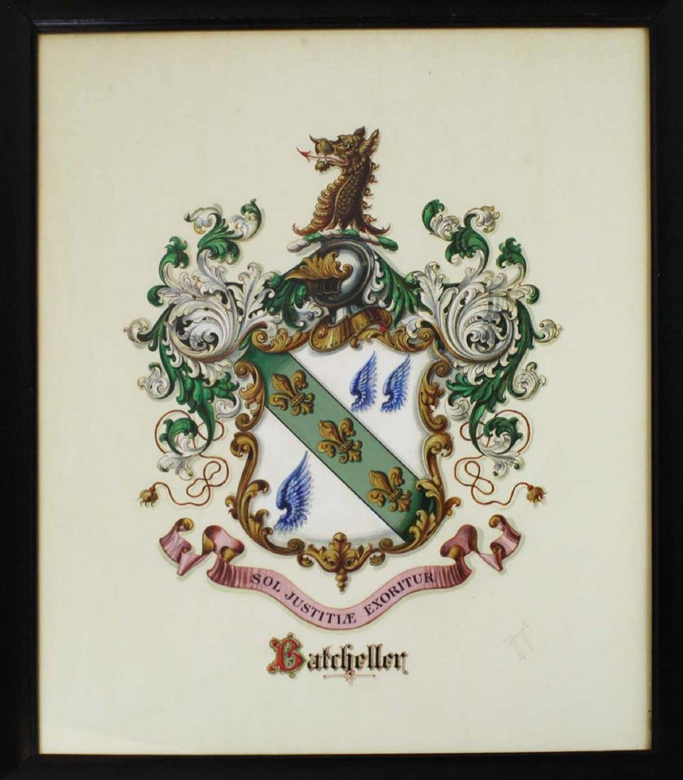 Tiffany and Co hand painted Coat of Arms Batcheller