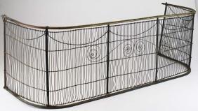 19th c brass, iron, & wire fire screen