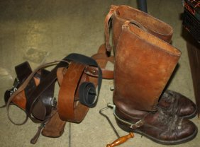 early 20th c boots, 2 WWI era military officer's belts