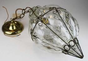 mid century hanging lamp w/ bubble glass & wire shade