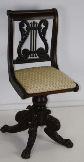 19th c Phyfe style lyre back piano chair