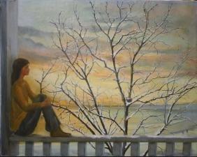 Joseph Mueller (Vermont 1924-2007) woman reflecting in