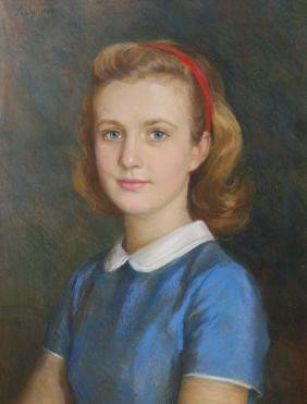 portrait of a young lady signed A Joy 1952