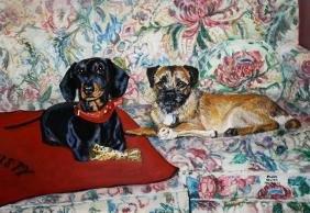 Helen Wilson Sherman (American 1913-2005) Two Dogs