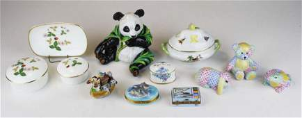 group of 12 small porcelain article incl 3 Herend