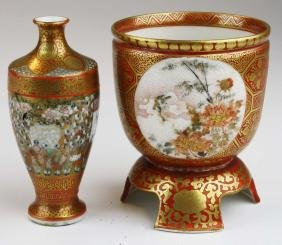 Ca. 1860 Japanese Satsuma footed cup and 1000 face vase