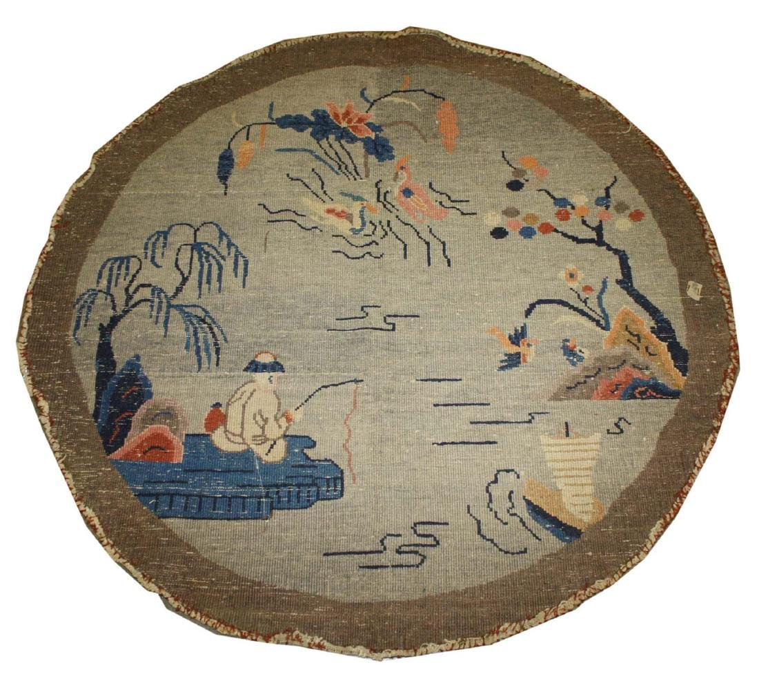 early 20th c Chinese round carpet - 4