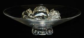 signed Steuben crystal art glass centerpiece bowl with