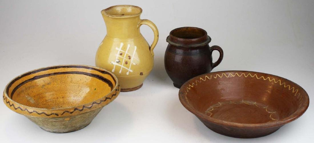 19th c redware & stoneware pottery