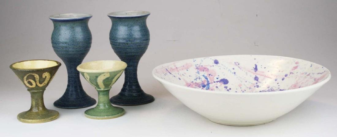 mid century art pottery bowl, water, & wine glasses