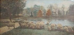 Large format pastoral Wallace Nutting hand colored