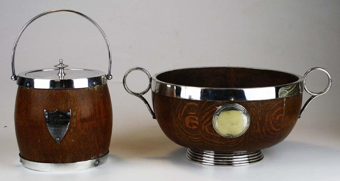 Oak barrel form porcelain lined humidor with silver