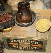 19th c biscuit crate, kitchenware, tobacco tin, mold