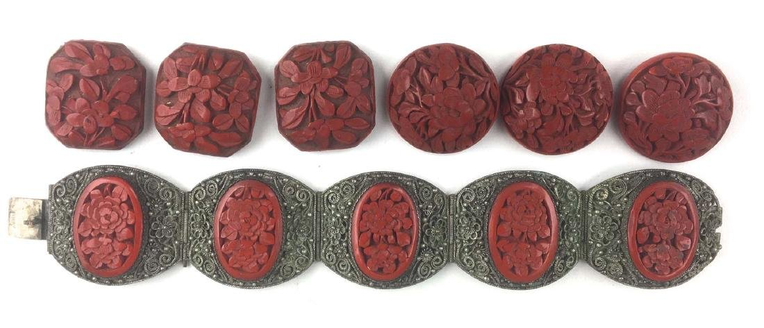 Ca. 1900 Chinese silver wire and carved cinnabar