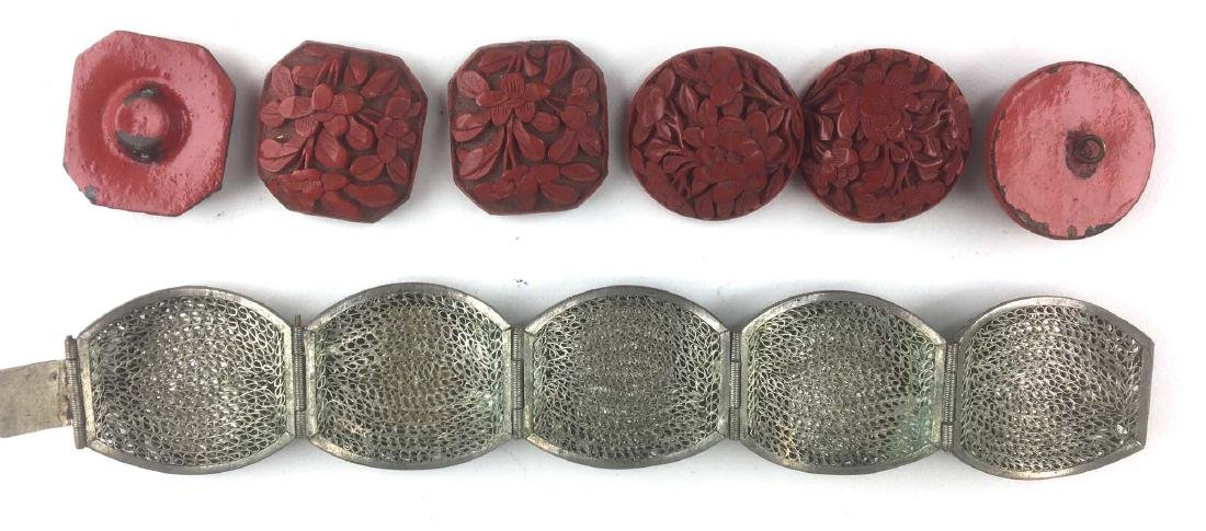 Ca. 1900 Chinese silver wire and carved cinnabar - 2