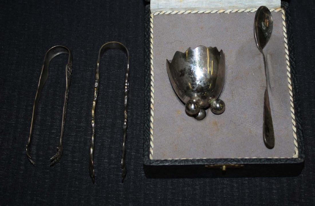 early- mid 20th c sterling silver tongs, .800 egg cup
