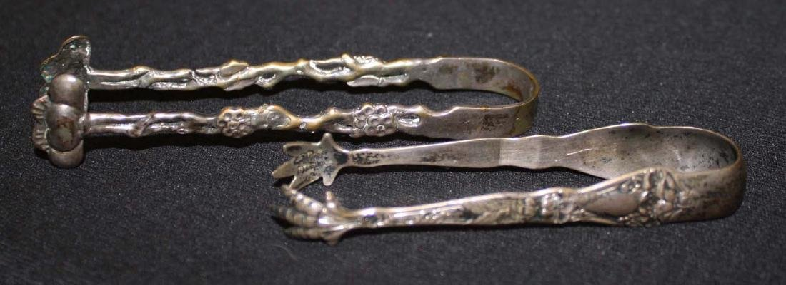 early- mid 20th c sterling silver tongs, .800 egg cup - 2