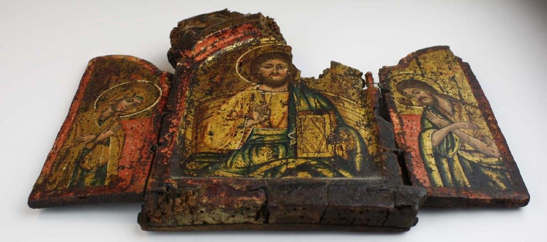 18th c Greek Orthodox tryptych icon - 2