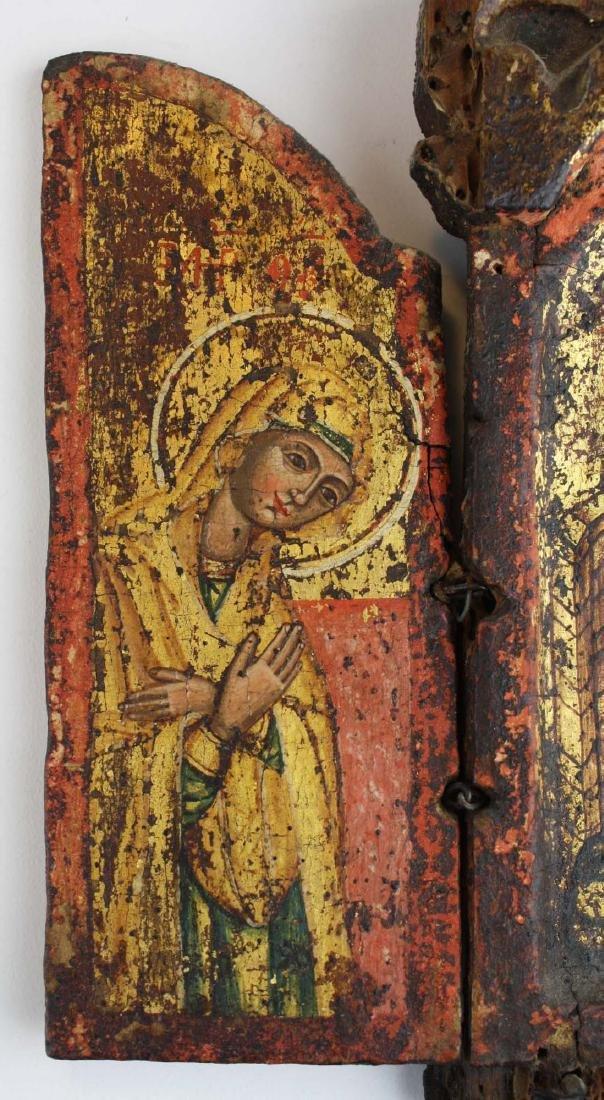 18th c Greek Orthodox tryptych icon - 4
