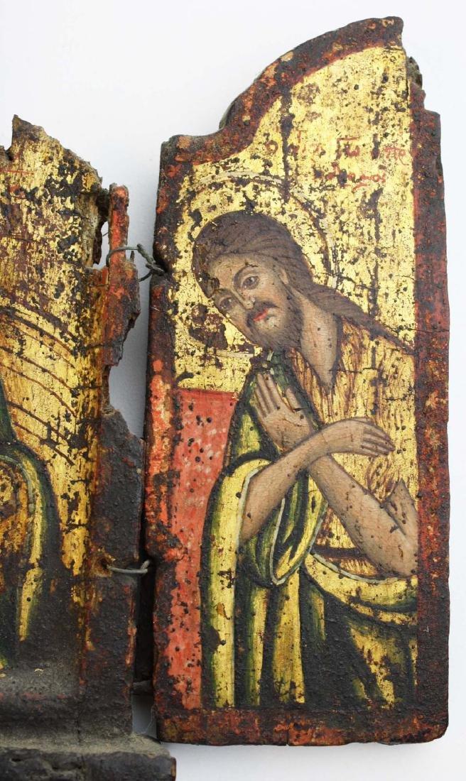 18th c Greek Orthodox tryptych icon - 6