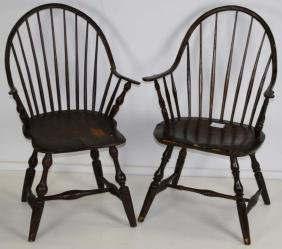 Two windsor continuous arm chairs