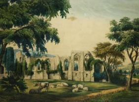 Currier and Ives lithograph Tinturn Abbey and sheep