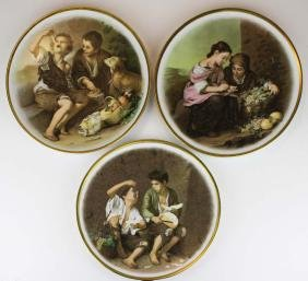 3 German porcelain chargers with genre scenes of