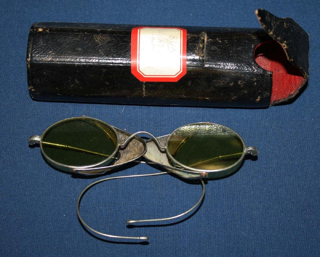 early 20th c tinted driving glasses with case