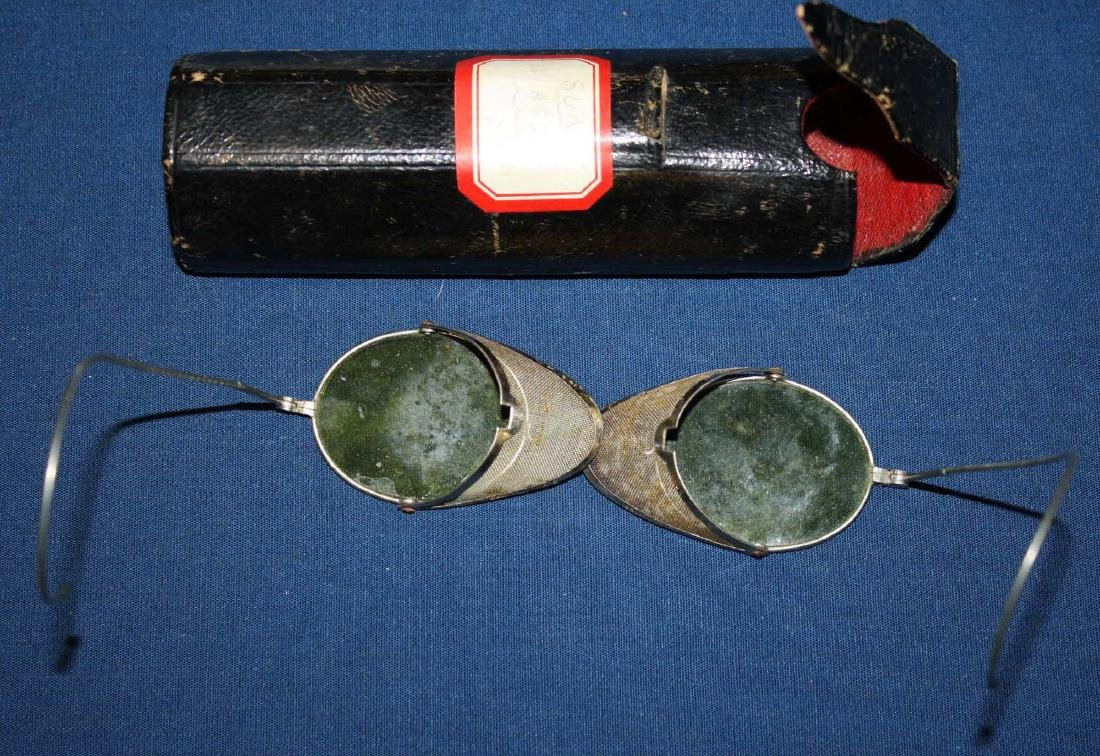 early 20th c tinted driving glasses with case - 2