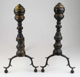 pr of early 19th c Empire period brass andirons