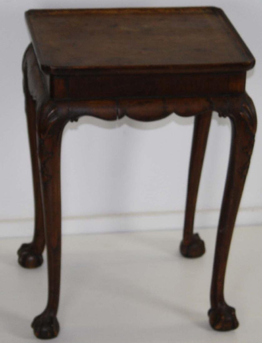 Chippendale style carved walnut tray top stand