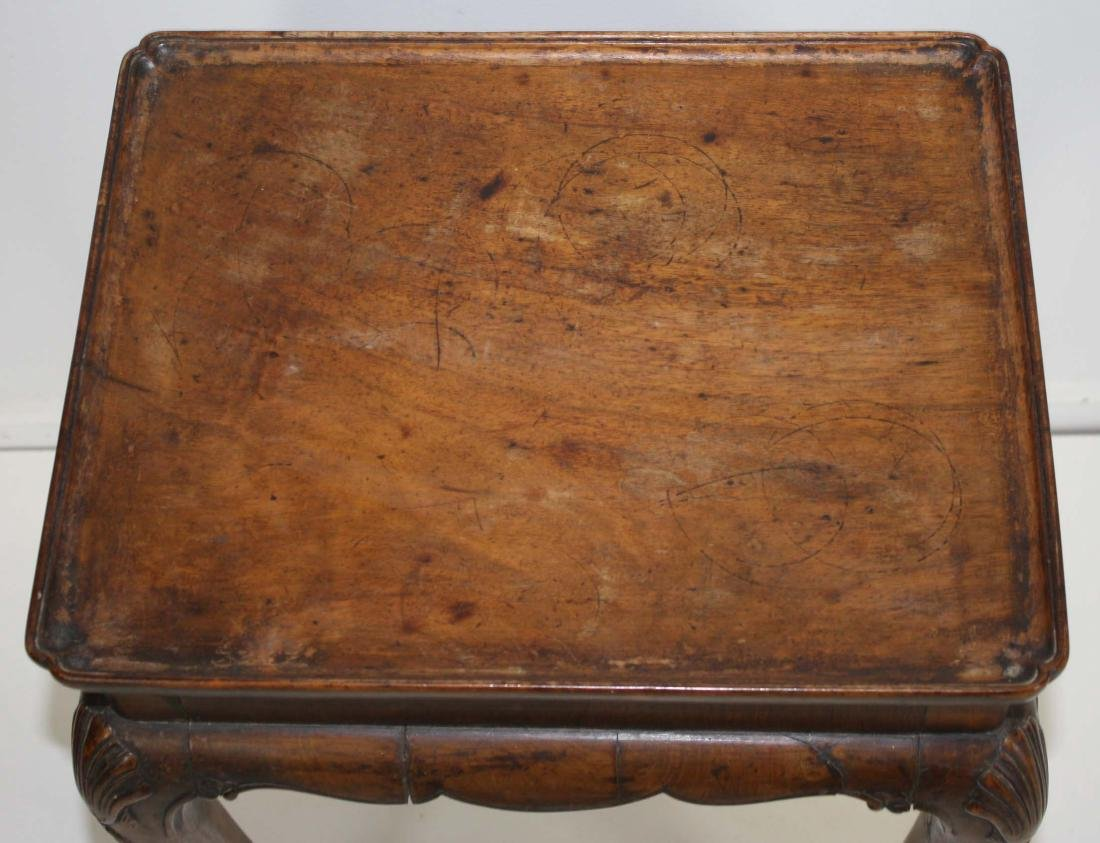 Chippendale style carved walnut tray top stand - 3