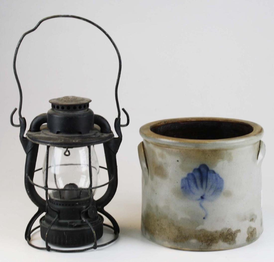 late 19th c blue dec stoneware crock & RR lantern