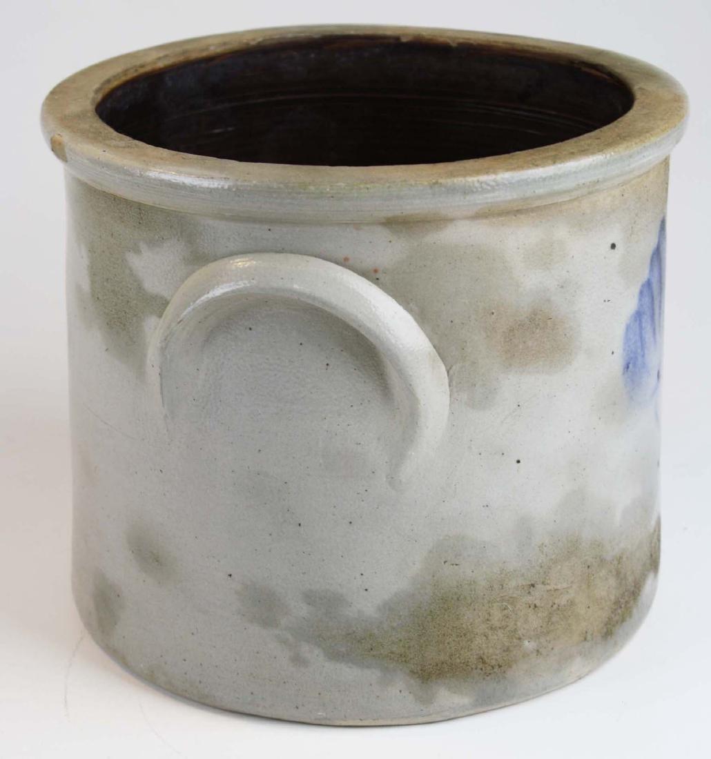 late 19th c blue dec stoneware crock & RR lantern - 2