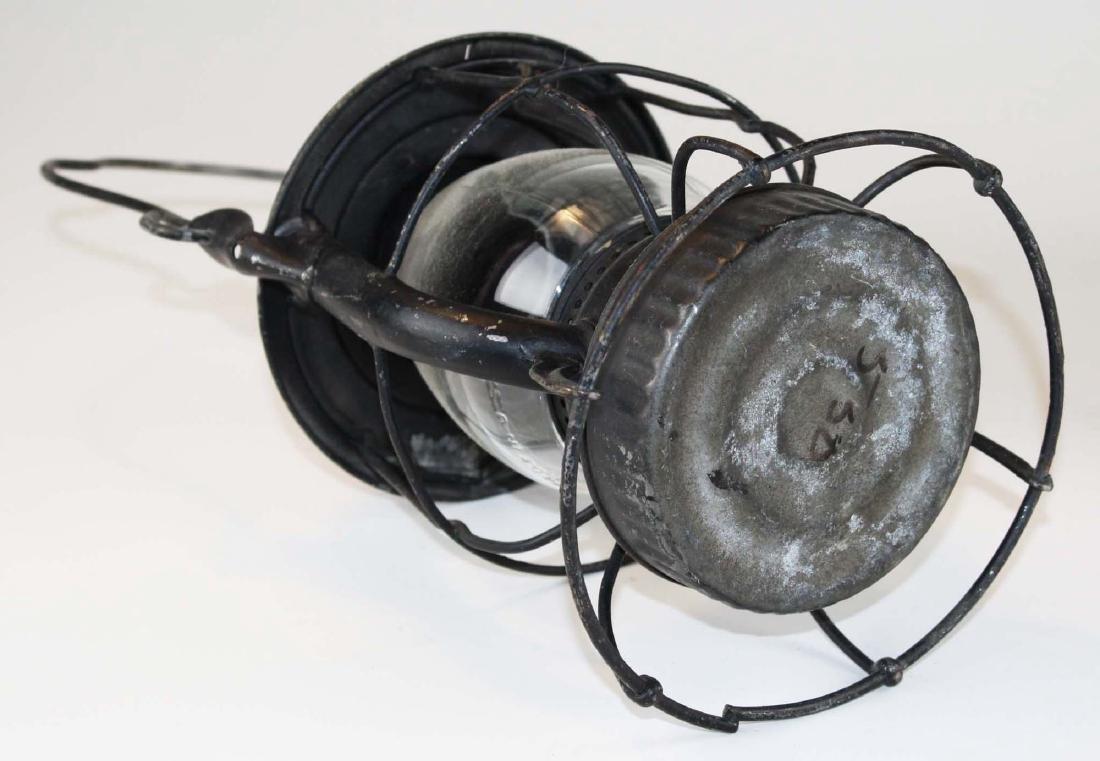 late 19th c blue dec stoneware crock & RR lantern - 5