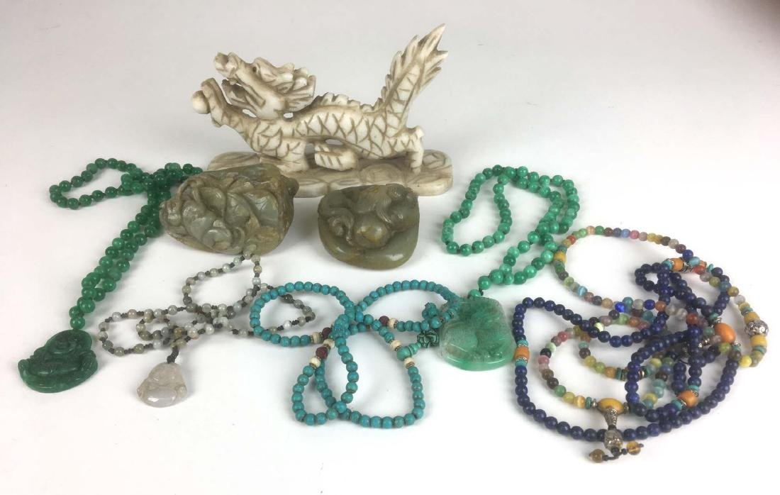 Lot Chinese jewelry, jade beads, carvings and pendants.