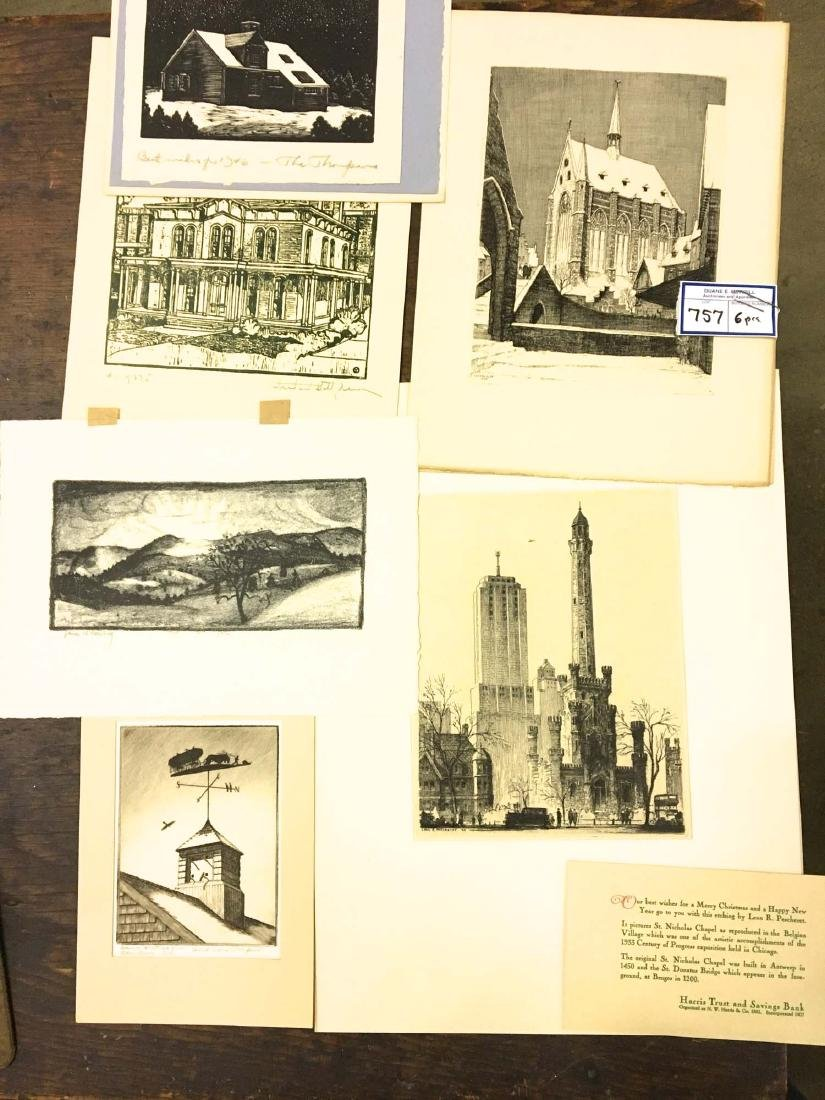 6 mid 20th c engravings, woodblocks