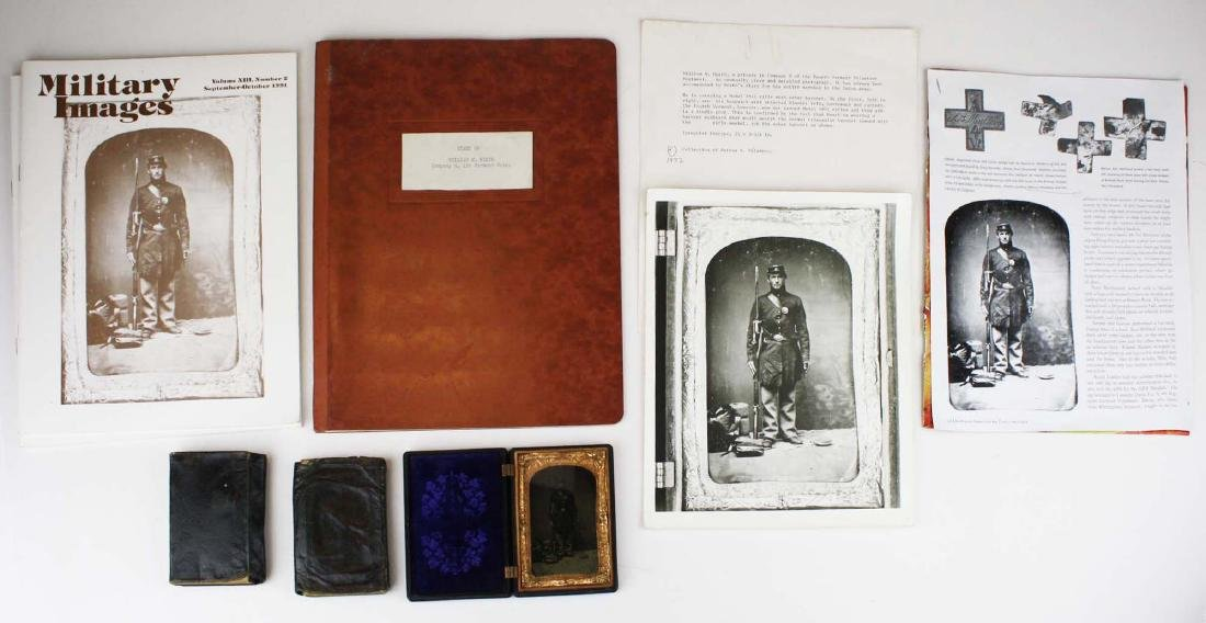 1/4 plate tintype of Pvt Wm. Heath with diary and Bible
