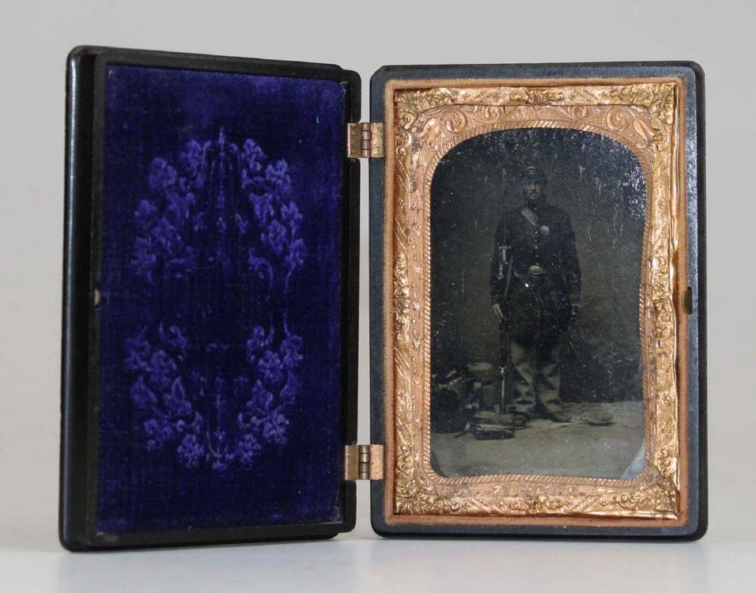 1/4 plate tintype of Pvt Wm. Heath with diary and Bible - 5