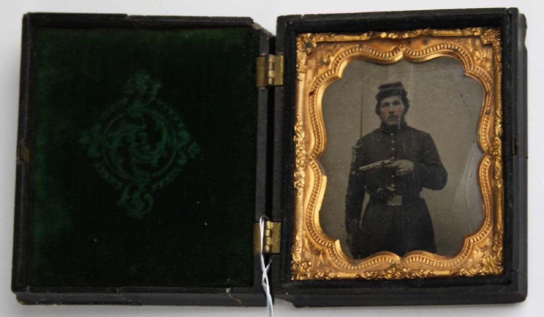 1/6th plate tintype Private George F Morris Co K 5th VT