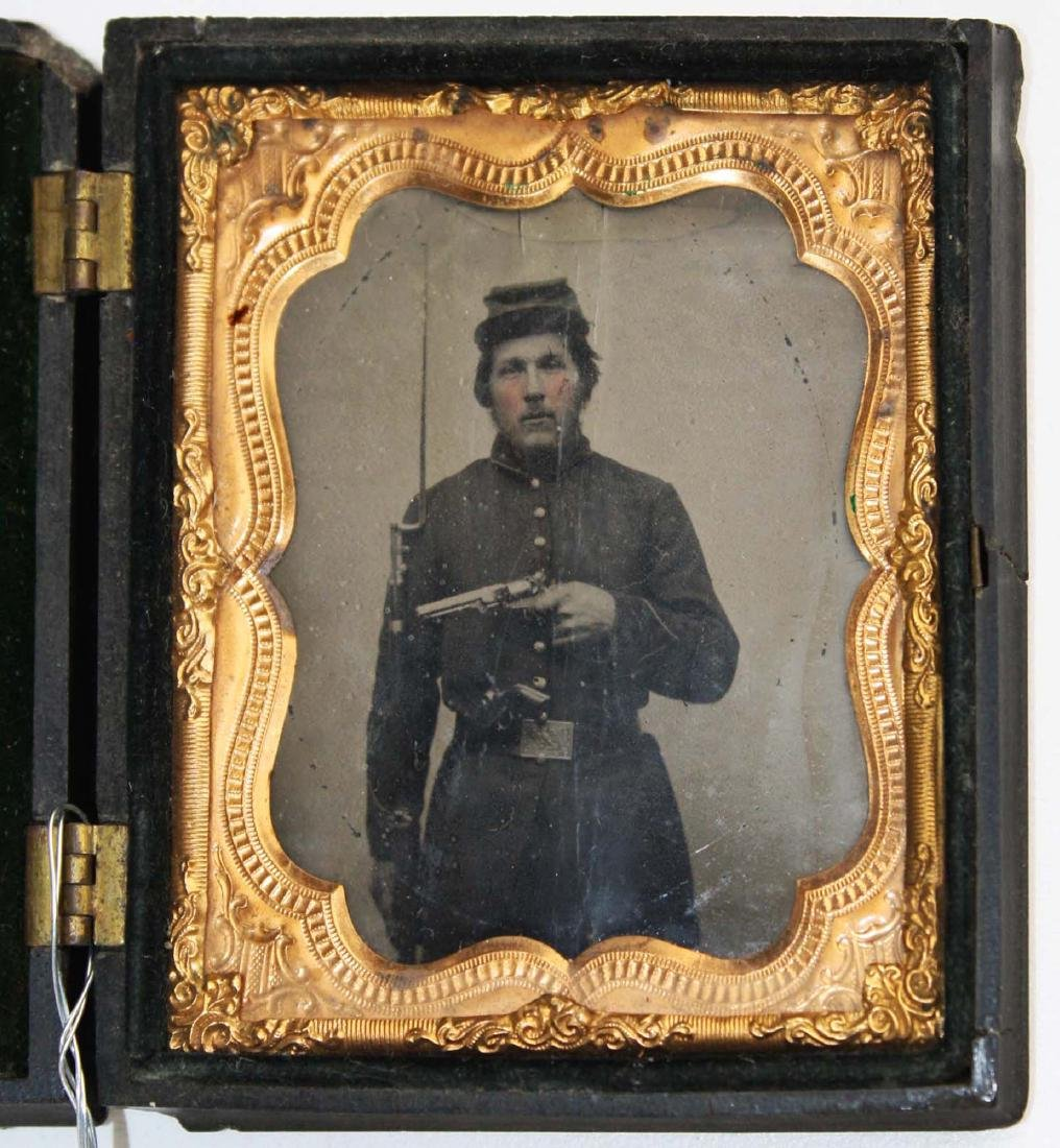 1/6th plate tintype Private George F Morris Co K 5th VT - 2
