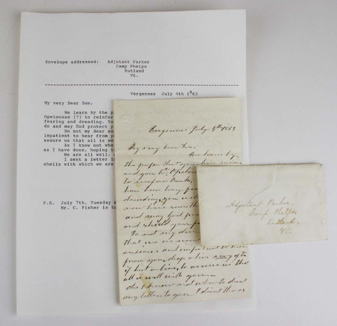 Lot of letters to Charles E Parker of Vergennes with - 7