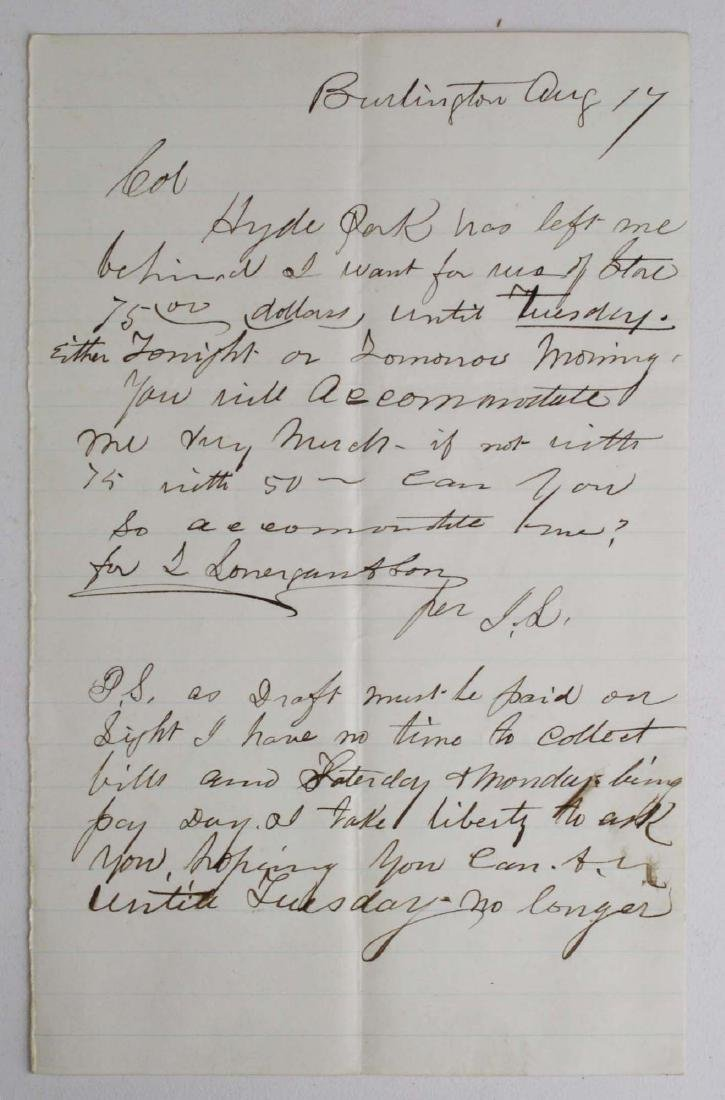 Note from Capt. John Lonergan to Col. Wm Munson