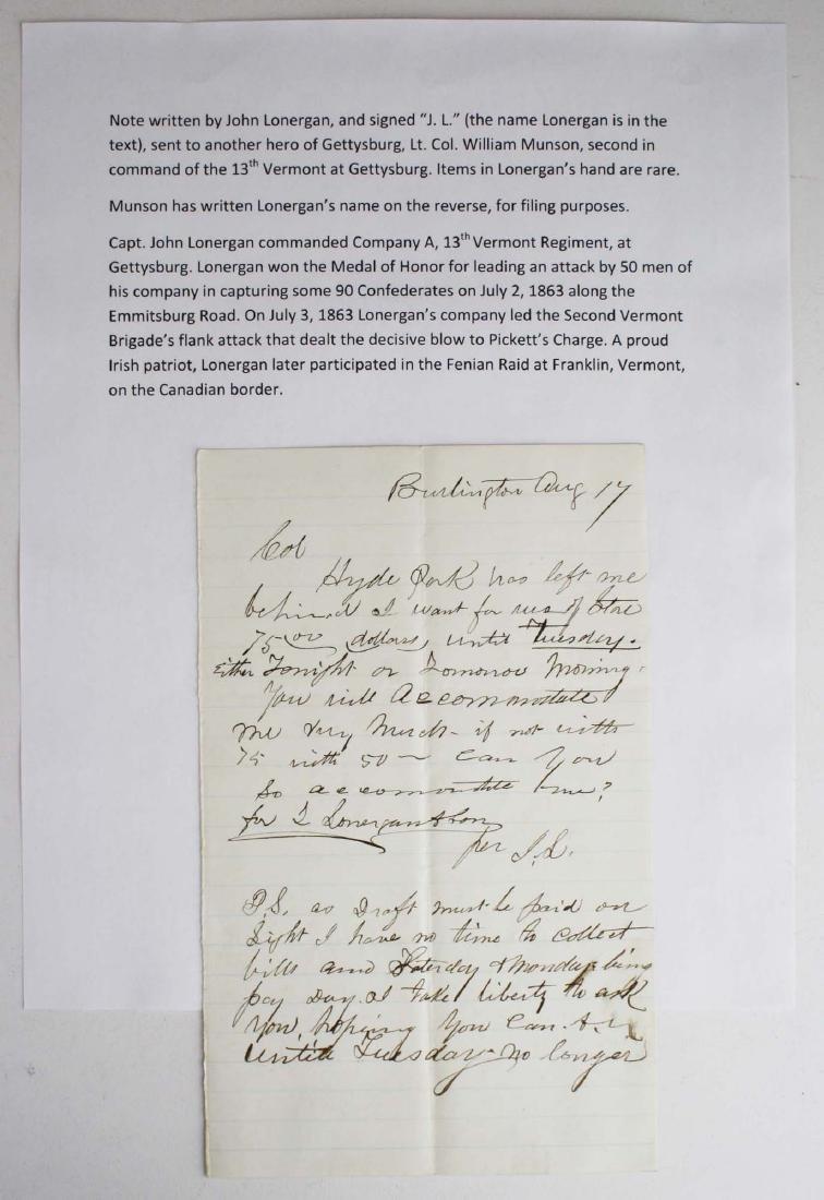 Note from Capt. John Lonergan to Col. Wm Munson - 6