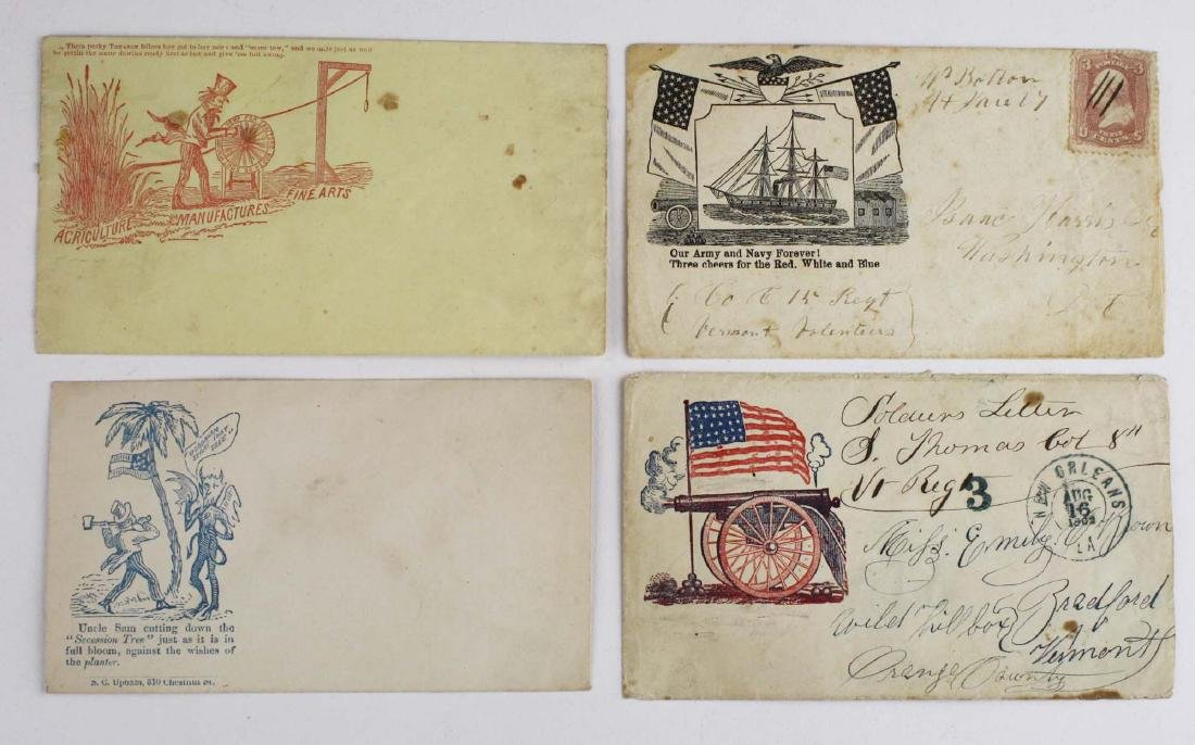Four US Civil War postal covers including 2 Vermont