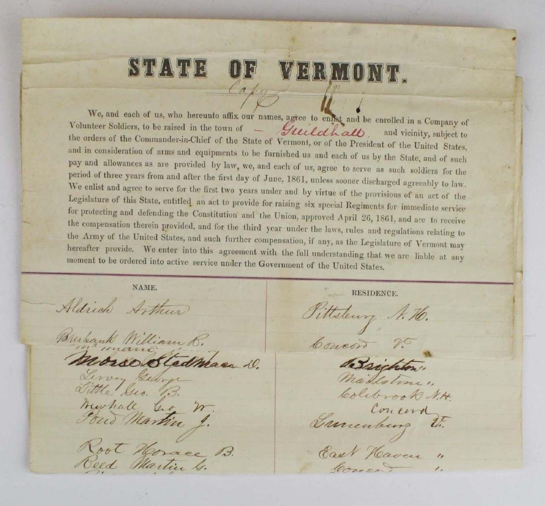 ca 1861 VT Civil War Enlistment Roster