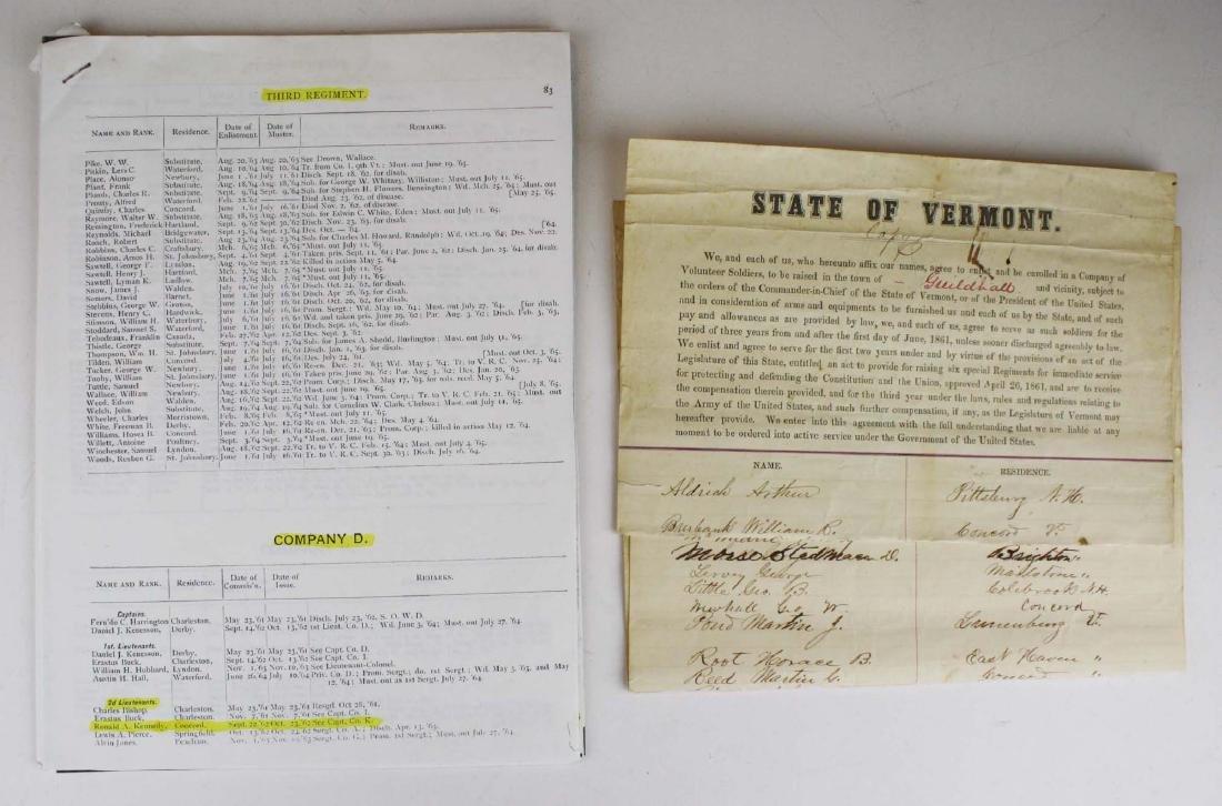 ca 1861 VT Civil War Enlistment Roster - 2