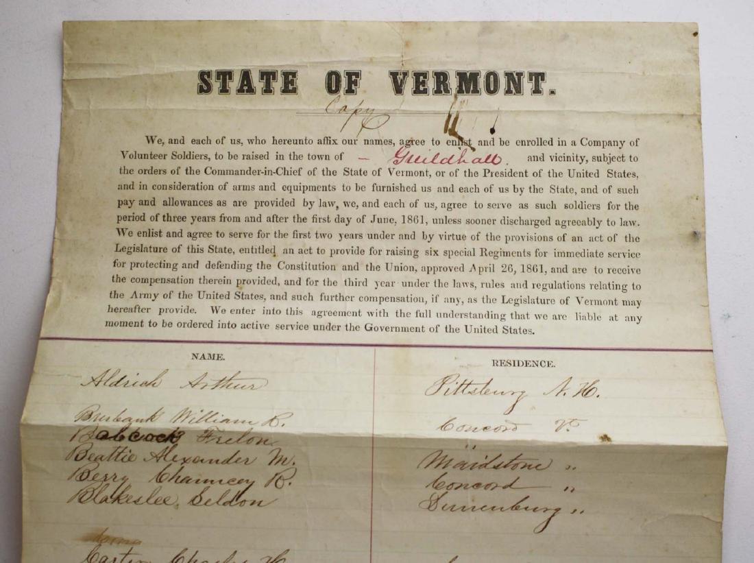 ca 1861 VT Civil War Enlistment Roster - 3
